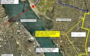 Map of new water main construction route starting in the area of the Emergency Pump Station on Pawtucket Ave. and ending at the Kent Heights Tank Facilities on Greenwich Avenue. Construction to begin in April and take place throughout 2021.