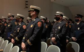 Members of the East Providence Fire Dept. prepare for promotions and awards ceremony