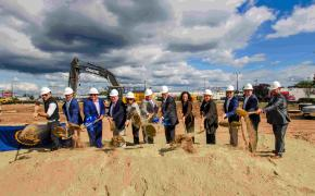 Representatives from Schiavo Enterprises, AR Builders, DiPrete Engineering, East Providence Planning Board and the City of East Providence Mayor's Office and Planning Dept. break ground on Newport Center