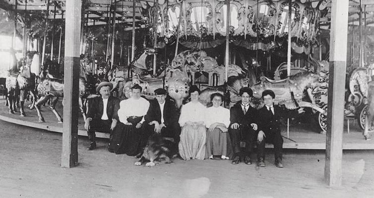 The Looff family at the Crescent Park merry-go-round, c. 1905-1910. From left; Charles, I. D Looff, his wife, Anna (Dolle) Looff, oldest son, Charles, Helen, Emma, William, and youngest son, Arthur.